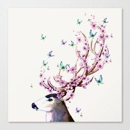 Deer and Flowers II Canvas Print