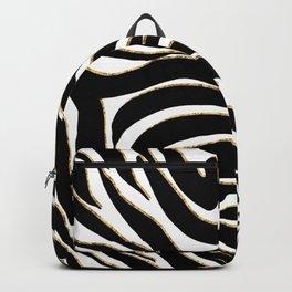 Elegant Black Gold Zebra White Animal Print Backpack