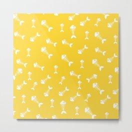Yellow and white fishbone pattern Metal Print