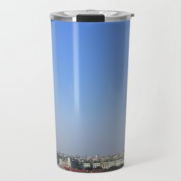Clear sky cityscape. Admiralty building and winter palace. Travel Mug