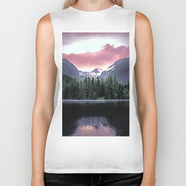 Purple Dusk Falling on Lake and Forest Biker Tank
