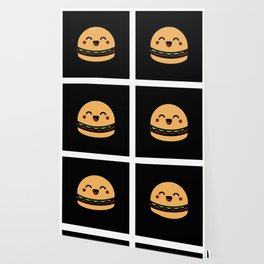 Kawaii Burger Meal Gift Idea Motif Design Wallpaper
