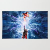 wreck it ralph Area & Throw Rugs featuring THOR vs RALPH by Raisya
