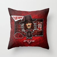 vendetta Throw Pillows featuring V for Vendetta by Emanpris Artcore