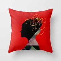 redhead Throw Pillows featuring Redhead by John Murphy