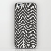 herringbone iPhone & iPod Skins featuring Herringbone – Black & White by Cat Coquillette