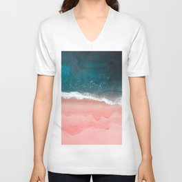 Turquoise Sea Pastel Beach III Unisex V-Neck