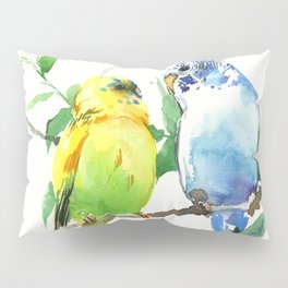 Budgies, Animal art, love, two birds bird artwork, bird pet Pillow Sham