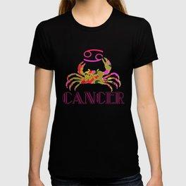Pink & Green Retro floral print Cancer Crab & Zodiac Sign T-shirt