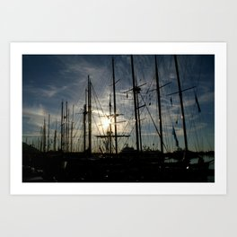sailboat on the sunrise Art Print
