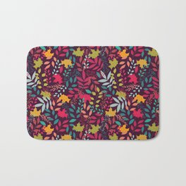 Autumn seamless pattern with floral decorative elements, colorful design Bath Mat