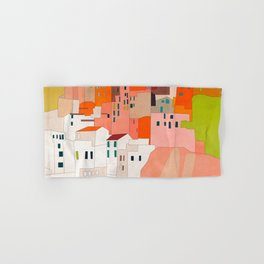 italy coast houses minimal abstract painting Hand & Bath Towel
