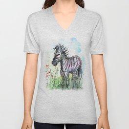 Zebra Whimsical Animal Art Unisex V-Neck