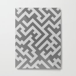 Light Gray and Dark Gray Diagonal Labyrinth Metal Print