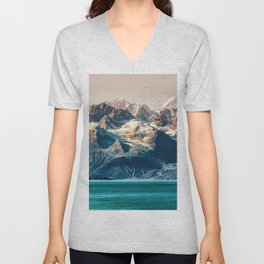 Scenic Alaskan nature landscape wilderness at sunset. Melting glacier caps. Unisex V-Neck
