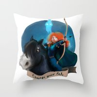 merida Throw Pillows featuring Merida by Fla'Fla'