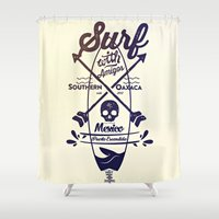 surf Shower Curtains featuring SURF by DON'T NEED NO SAMURAI