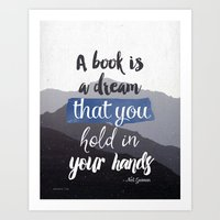 neil gaiman Art Prints featuring Neil Gaiman quote, Literary Quote, black and white Mountains by Good vibes and coffee
