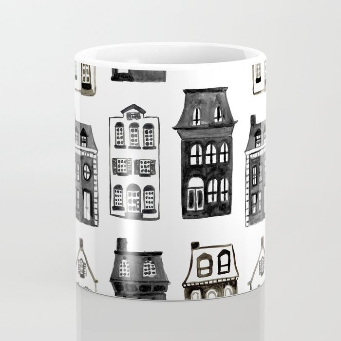 Mansard Mansions in Black + White Watercolor Coffee Mug
