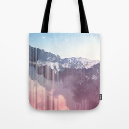 Glitched Mountains Tote Bag