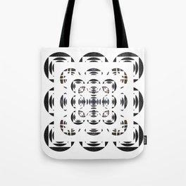 Optical Black and White Peace Mandala Tote Bag