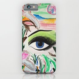 The Rain Forest Original Painting by Jodi Tomer. Blue Eye Abstract Artwork. iPhone Case