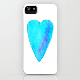 Turquoise Heart Full Of Love Watercolor iPhone Case