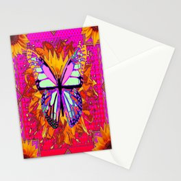 Rainbow Colored Butterfly On Red-fuchsia Sunflower Floral  Stationery Cards