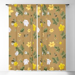 Yellow Flowers & White Roses 3 Blackout Curtain