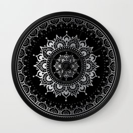 Silver Mandala. Indian decorative pattern. Wall Clock
