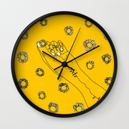 Miss Daisies in Yellow Wall Clock
