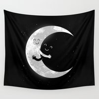 hug Wall Tapestries featuring Moon Hug by carbine