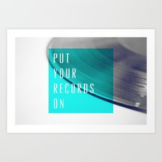 Records - Blue Art Print