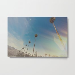 California Palm Trees Sun Flares Metal Print