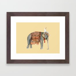 Elephant Ride on Sand Framed Art Print