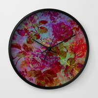 vintage floral Wall Clocks featuring vintage floral by clemm