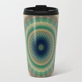Gold Aqua Blue Mandala Travel Mug