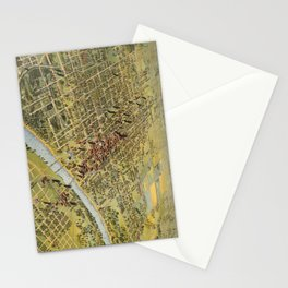 Vintage Pictorial Map of Waco Texas (1892) Stationery Cards
