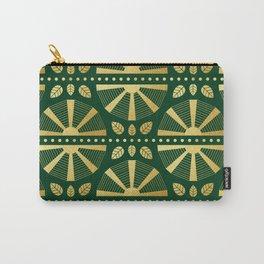 Emerald & Gold Art Deco Fan Carry-All Pouch