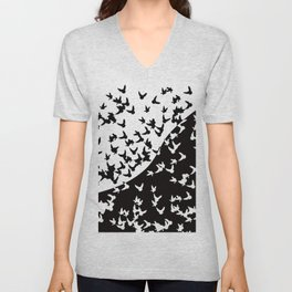 Flocks of birds. Allegory of day and night Unisex V-Neck