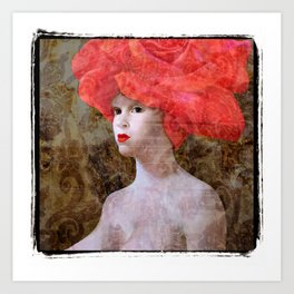 """Goddess with a Rose Hat. Variations on a Theme. """"Woman with a Hat"""" Series Art Print"""