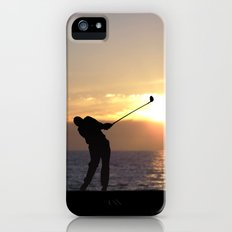 Playing Golf At Sunset iPhone (5, 5s) Slim Case