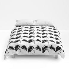 Tropical Monstera Leaves Black on White Comforters