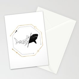 Shark Black Gold Geometric LowPoly Stationery Cards