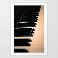 piano Art Prints featuring piano by noirblanc777