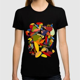 Colorful pebbles on black T-shirt