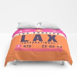 Retro Airline Luggage Tag - LAX Los Angeles Comforters