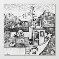 Fox on Fishing-boat Canvas Print