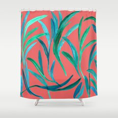 Leaves on red Shower Curtain