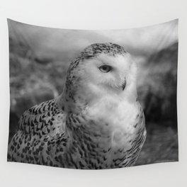 Snowy Owl - B & W Wall Tapestry